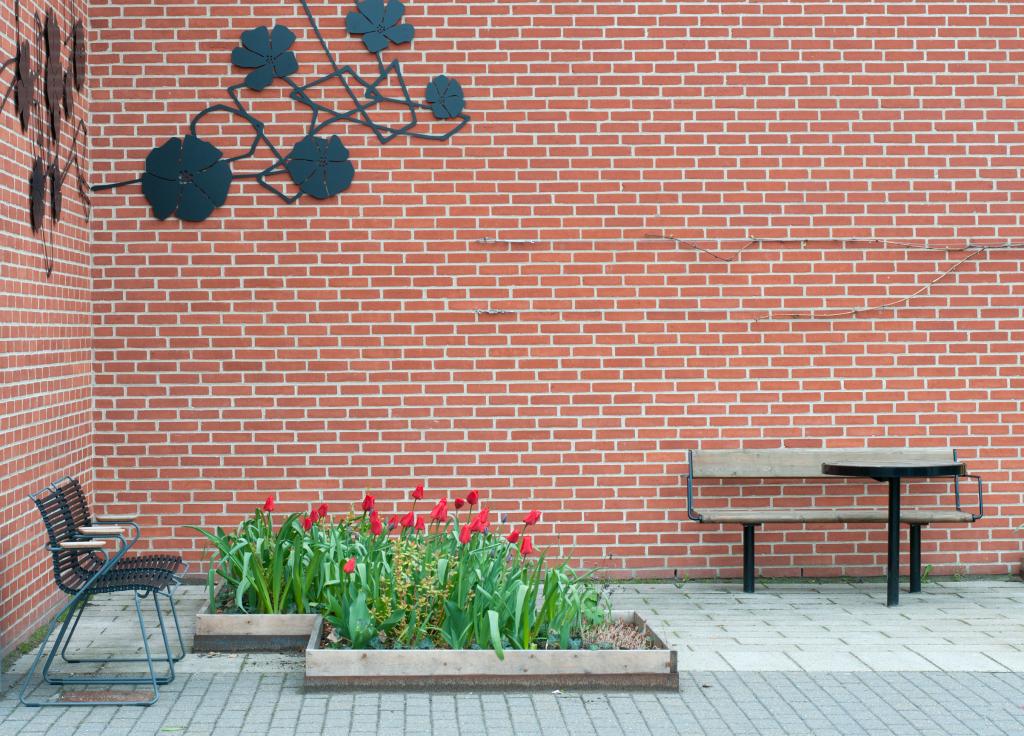 Røde tulipaner plejehjem hovedindgang vestre bænk